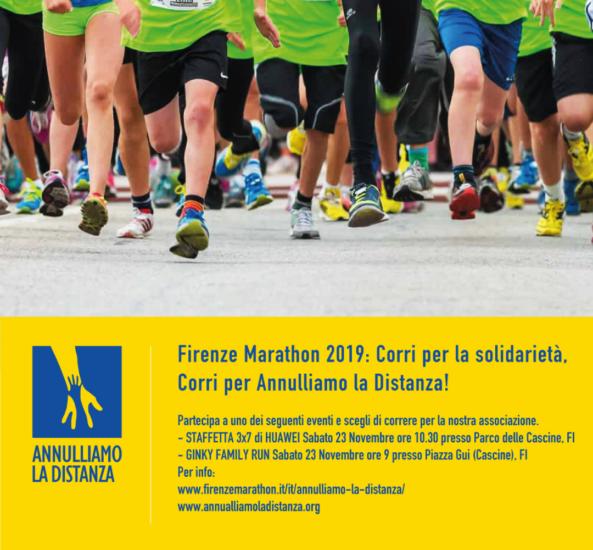 FIRENZE MARATHON 2019: corri per la solidarietà, corri per Annulliamo la Distanza!